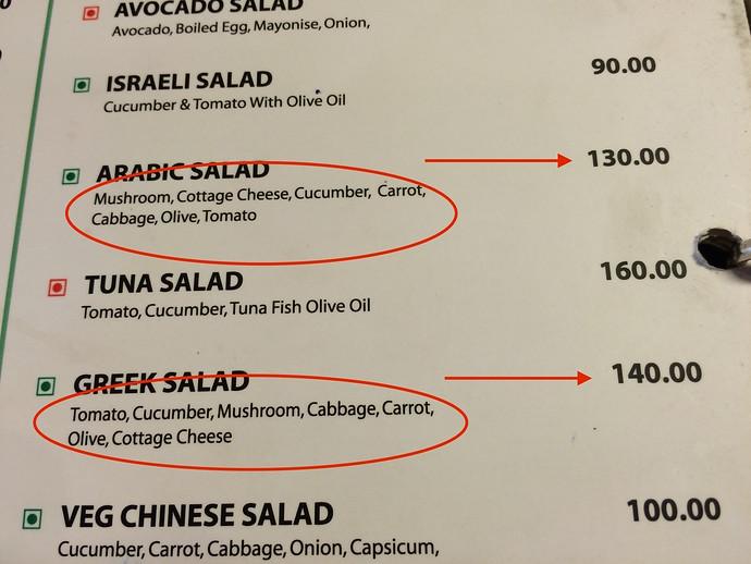 indian menu