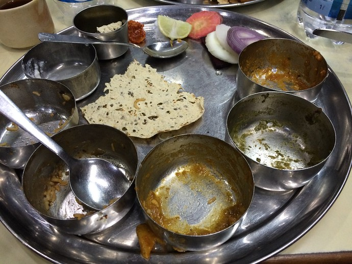 indian thali after