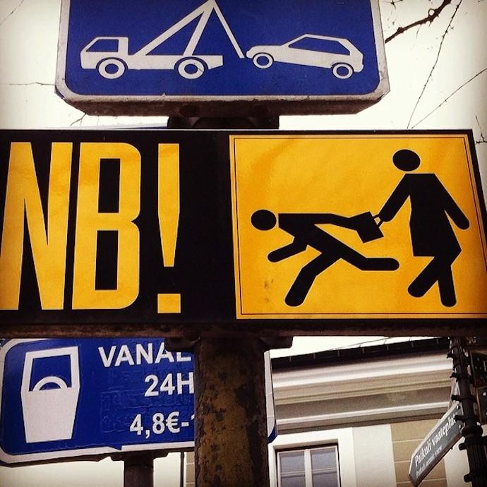 tallinn estonia nb road sign
